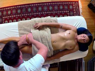 Massage babe banged doggystyle by masseur