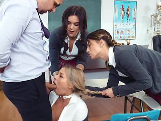 Teacher punishes coed assfucking her in groupmates' presence