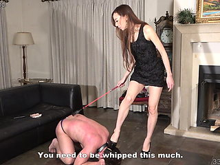 Japanese Female Domination Risa Whipping and CBT Punishment