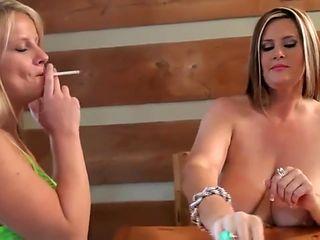 Smoking Fetish Lesbians 002 chubby Mom seduction kiss