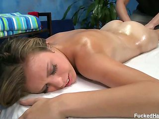 Cute 18 year old Kara F gets massage oil rubbed all over