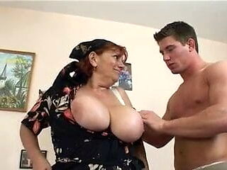 Young Man Fucks Granny Maid and Cums on Her Face