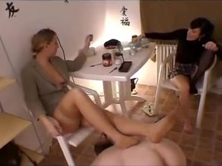 Femdom toilet mistress and Friends dominate slave