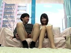 Small titted asian beauty giving blowjob