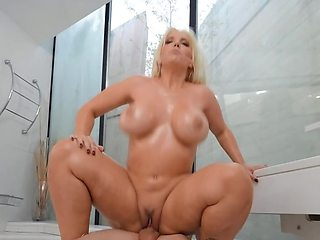 Lucky boy stretches friend's busty blonde aunt in the bathroom