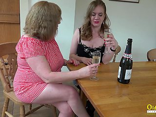 Two chubby housewives are licking puffy pussies and fucking cucumber