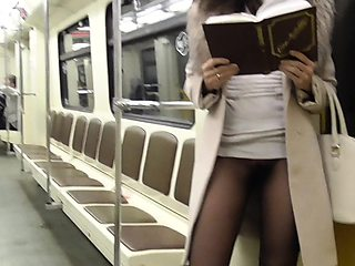 Jeny Smith subway pantyhose pussy flash