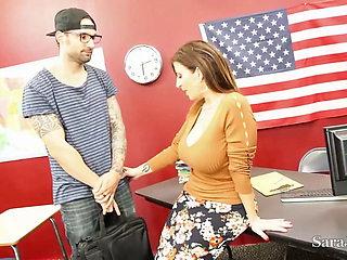 Hot Cougar Teacher Sara Jay Gives Her Student An A+ Blowjob!