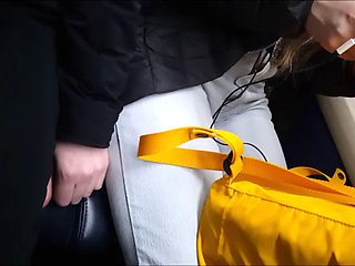 Cute girl on bus jeans (no grope)