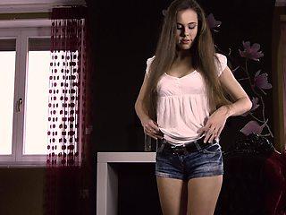 Defloration casting - cute Anastasia shows virgin pussy