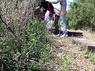 Pantyhosed amateur slut gets banged doggystyle outside