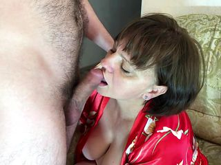 The stepmother with a big ass did blowjob to her son and had anal sex. Real