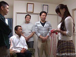Lingerie clad Japanese broad gets fingered then gang banged till orgasm
