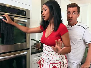 Baking and banging with a beautiful black girl in his kitchen