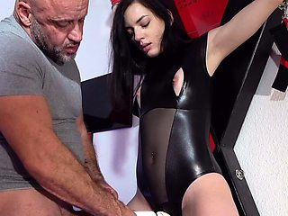 GERMAN SLAVE HOOKER LATEX GIRL SEDUCE TO FUCK BY OLD GUY