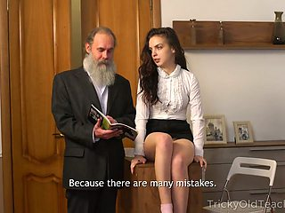 Bearded old teacher fucks pretty sophomore student Milana Witch