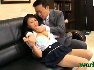 Naked oriental luscious gal in office sex