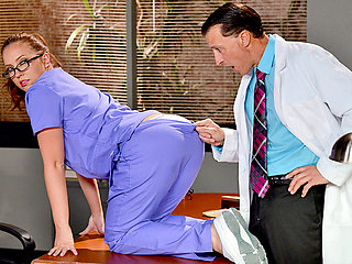 Naughty nurse Maddy Oreilly sucks and fucks the doctors cock