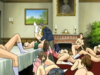 Japanese anime coeds group gangbang