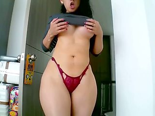 Tasty curvy girl teasing cocks