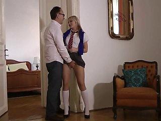 older guy with girl in school uniform 3