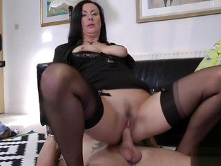 Stockings mature jizzed