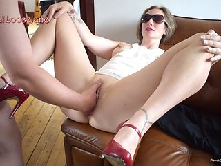 Pussy filled with fist and large toys before getting fucked