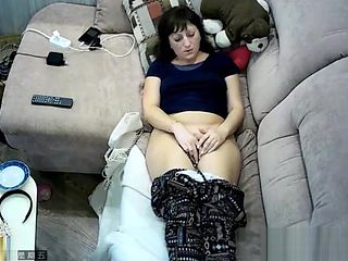 Hidden cam in ceiling fan caught my mom masturbation