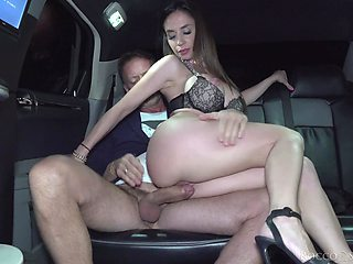 Rough car fucking with a big dick and attractive slut Malena