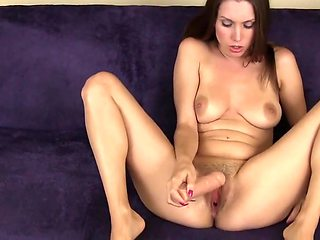 Using fat dildo in pussy and on feet