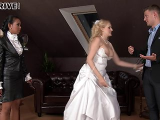 Bride to be decides to have one last threesome with her sexy friends