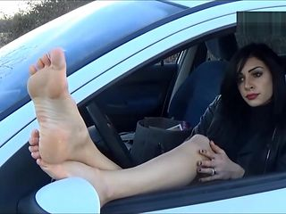 True french goddess above and inside a white car