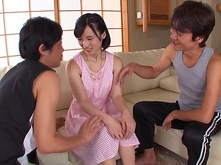 Charming Japanese vixen takes a facial cumshot after getting hammered in sizzling threesome