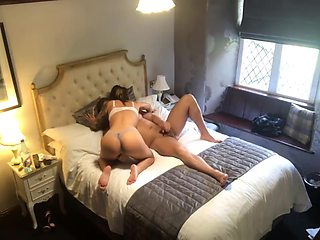 Amateur French Blonde with Perfect Ass in fishnets rides my dick