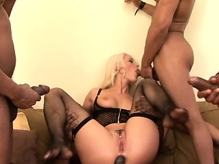 Blanche Bradburry Shares Her Holes with Four Black Studs
