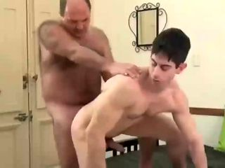 Old vs Young gay fucking in Kitchen