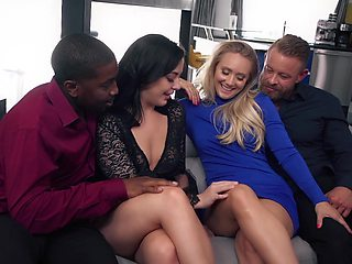 Wild curvaceous sexpot AJ Applegate loves sharing dicks for kinky swinger fuck