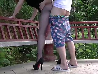 Fuck doggystyle Chinese model babe on mountain