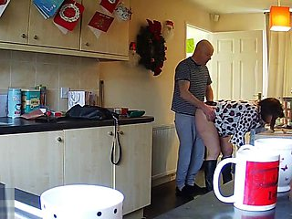 Housewife Milf Mum Mom Shagged Kitchen - Hidden IP Camera