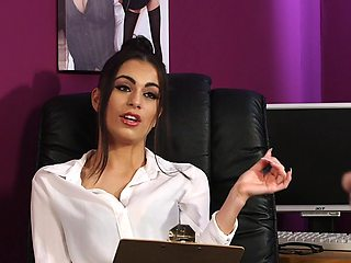 Elegant secretary is keen to try the dick in a spicy CFNM play