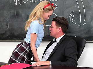 Winsome 18 year old blonde schoolgirl Angel Smalls sucks