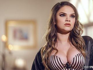 Big Tit Brunette Athena Faris Solo Masturbating With A Dildo