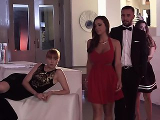 Roped up girl is being fucked at the bondage sex pary