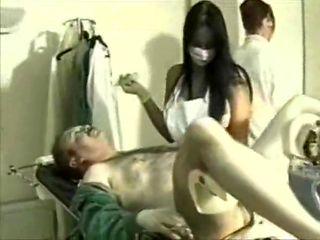 2 nurses femdom milking handjob gloves mask hospital