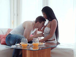 Seductive black girlfriend Nia Nacci gives a sensual blowjob and gets her pussy nailed