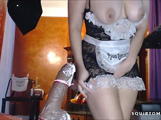 Hot Latina with amazing squirting dildo fucks her tight hairy pussy and it fulls her up to the top!