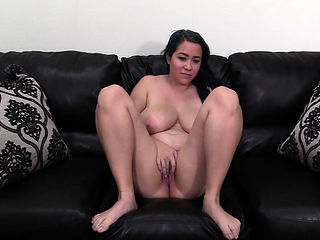 Naturally busty Asian Theodora creampied in 1st casting fuck