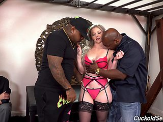 Whore wife Kay Carter gets blacked and double penetrated in front of cuckold husband