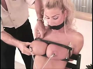 Blonde girl with pierced nipples gives amazing