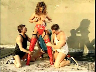 Classic babe in red thigh high boots with long red fingernai